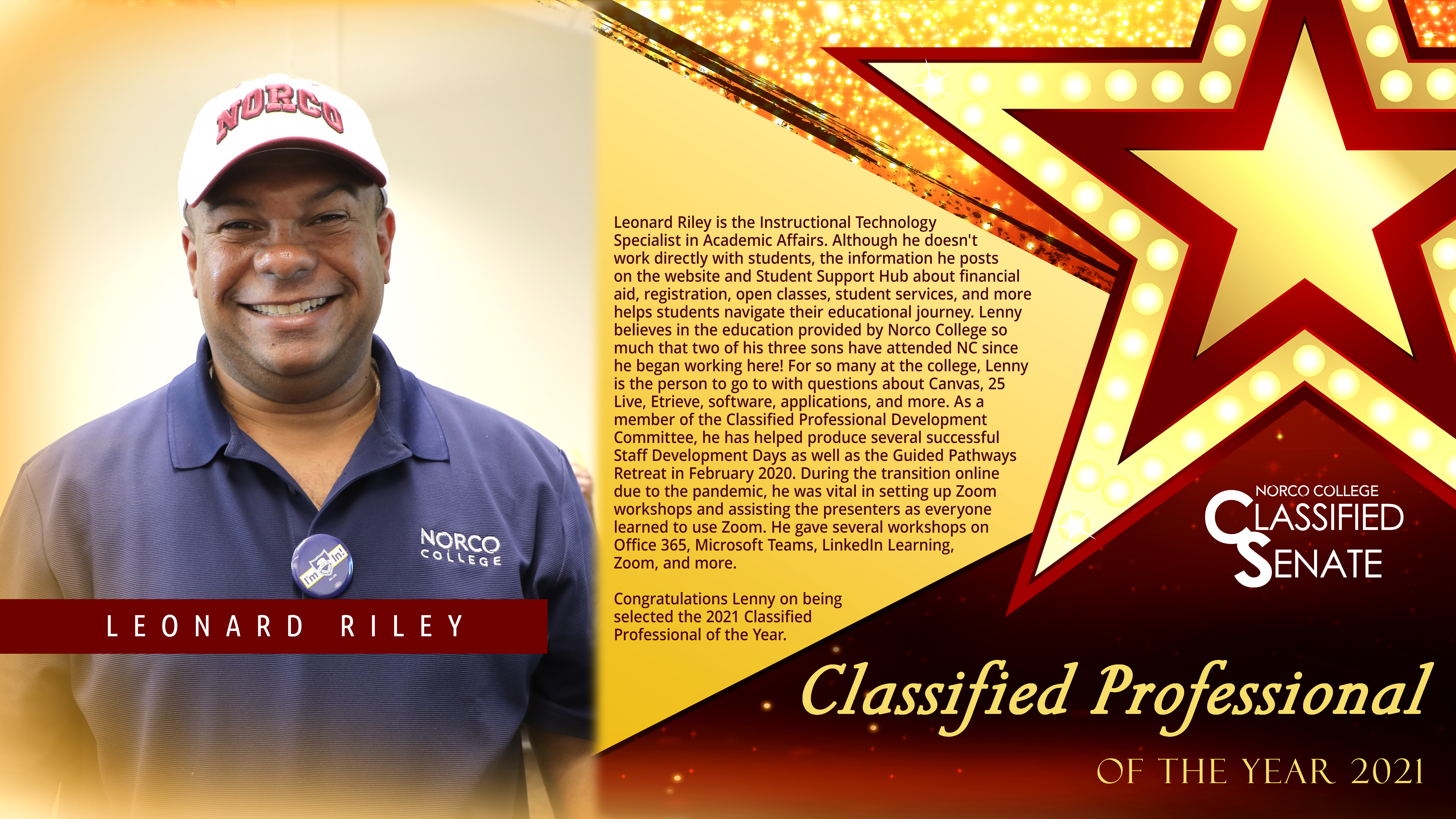 Classified Professional of the Year Lenny Riley